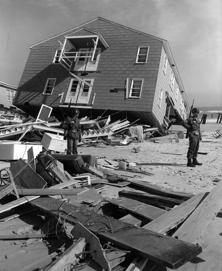 1962 - One of two identical apartment houses at 20th street after the storm. The two were valued near $150,000, but were so badly wrecked that the owner sold them to a salvage firm for $1,200. (A. Aubrey Bodine/Baltimore Sun)