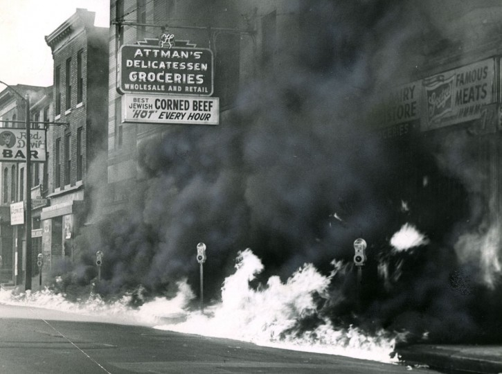 Attman's Deli is pictured during the Baltimore riots of '68. (Baltimore Sun file photo)