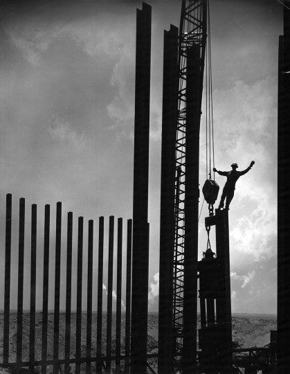 1964 - Construction on the Chesapeake Bay Bridge Tunnel. (A. Aubrey Bodine/Baltimore Sun)