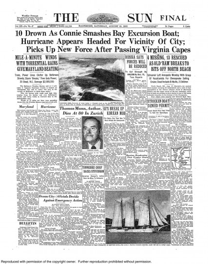 August 13, 1955 - 10 drown as Hurricane Connie smashes bay excursion boat