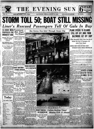 Evening Sun, August 25 1933 - The storm toll reaches 50