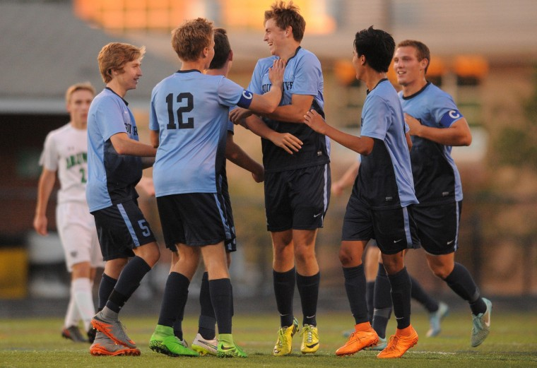 South River celebrates after scoring another goal during Tuesday afternoons game held at Arundel High School. (Matthew Cole/Capital Gazette)