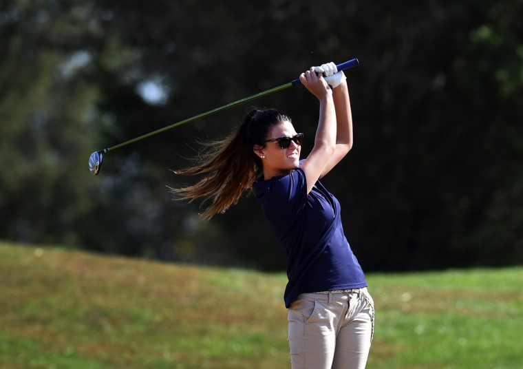 Bel Air's Spencer Comitz watches her shot sail to the green on the second hole during Tuesday's Harford County Golf championship at Geneva Farm Golf Course in Street. (Matt Button/BSMG)