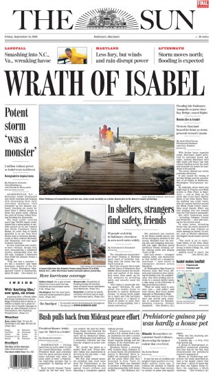 September 19, 2003 - 2 million without power as Isabel tears northwest