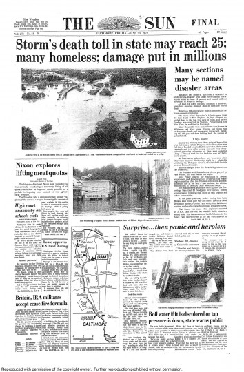 June 23 , 1972 - Hurricane Agnes's death toll may reach 25, damage put in millions