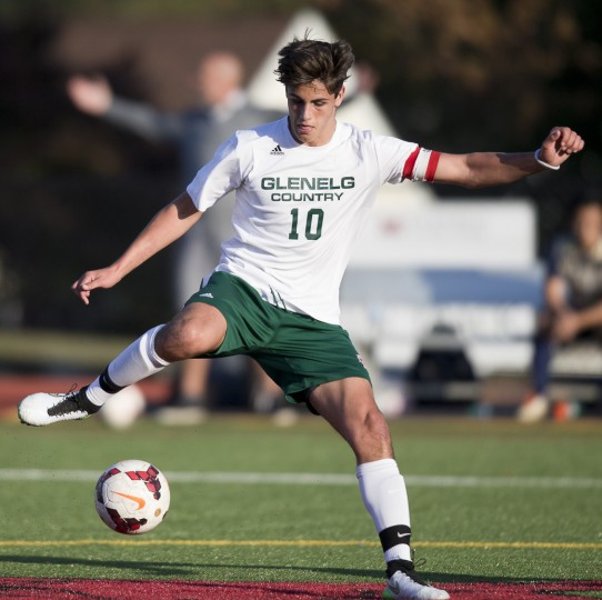 Glenelg Country School's Reid Chaconas controls the ball during the second half of the boys soccer game against Chapelgate at Glenelg Country School in Ellicott City, MD on Wednesday, October 14, 2015. (Jen Rynda/BSMG)