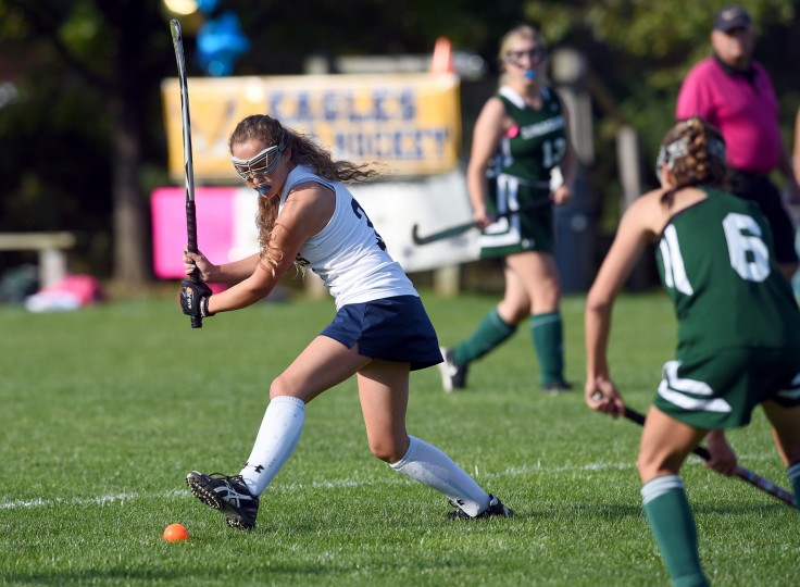 Annapolis' Sydney White winds up to hit the ball in the first half. The Annapolis Area Christian School's Eagles defeated the visiting Glenelg Country School Dragons, 1-0, in girl's high school field hockey, Wednesday afternoon. (Paul W. Gillespie/Capital Gazette)
