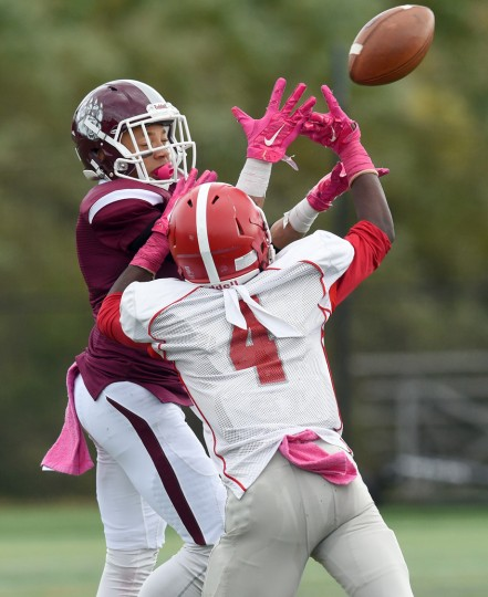 Glen Burnie's Ra'Quan McCain breaks up a pass to Broadneck's Chris Watts in the second quarter. The Broadneck Bruins defeated the visiting Glen Burnie Gophers, 41-20, in high school football Saturday afternoon. (Paul W. Gillespie/Capital Gazette)