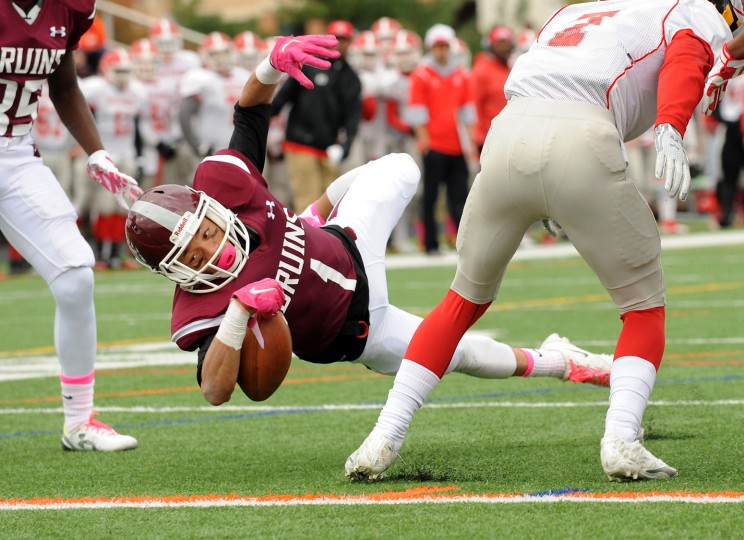 Broadneck's Chris Watts takes the ball into the end zone for a touchdown in the first quarter. The Broadneck Bruins defeated the visiting Glen Burnie Gophers, 41-20, in high school football Saturday afternoon. (Paul W. Gillespie/Capital Gazette)