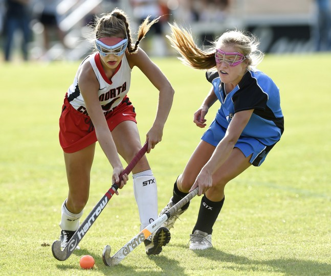 North Carroll's Mary Guest fights for the ball with Westminster's Chloe Sankovich Thursday, Oct. 22. in Winfield.  (Dave Munch/Carroll County Times)