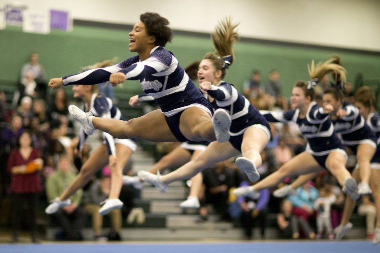 Marriotts Ridge junior Ladejah Owens performs with her team during the Fall 2015 Howard County Varsity Cheerleading Competition at Atholton High School in Columbia, MD on Wednesday, October 28, 2015. (Jen Rynda/BSMG)