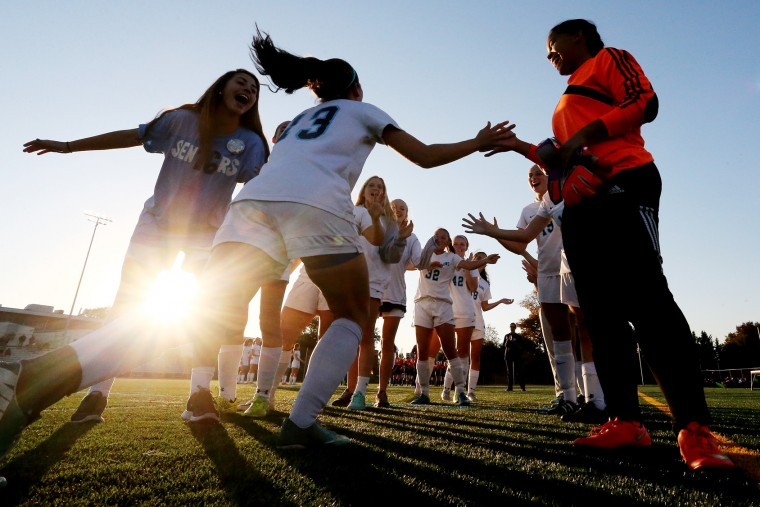 Sarah Cocozza of Howard is introduced before a soccer match against Reservoir at Howard High School in Ellicott City on Tuesday, October 20, 2015. (Matt Hazlett/For BSMG)