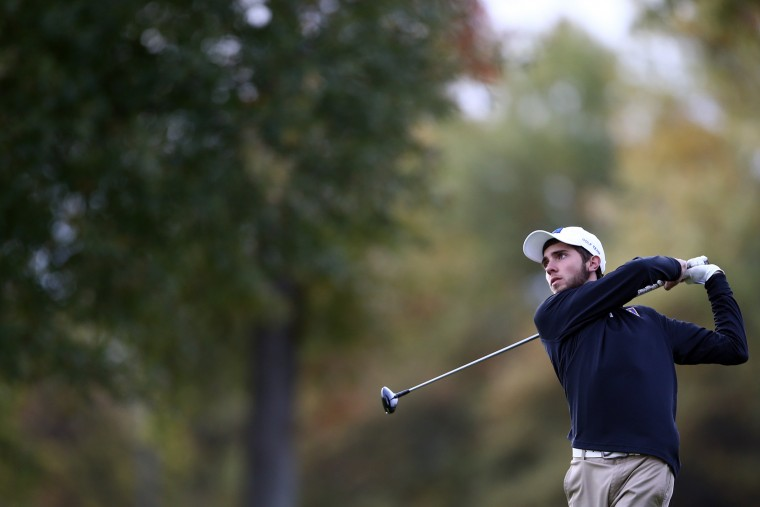 Mitchell Hardin of Aberdeen tees off of hole 1 during day 1 of the Maryland State Golf Tournament at University of Maryland Golf Course on Monday, October 26, 2015 in College Park, MD. (Matt Hazlett/For BSMG)