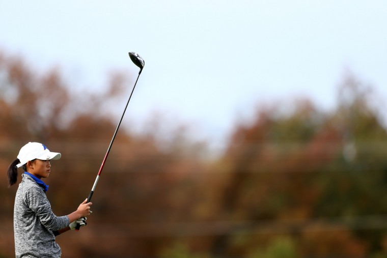 Audrey Moon of Aberdeen tees off on hole 10 during day 1 of the Maryland State Golf Tournament at University of Maryland Golf Course on Monday, October 26, 2015 in College Park, MD. (Matt Hazlett/For BSMG)