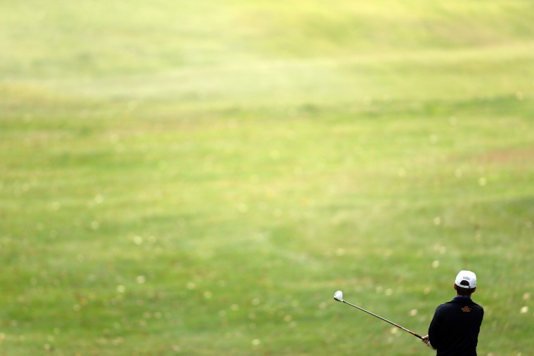 David Fulp of Aberdeen tees off on hole 18 during day 1 of the Maryland State Golf Tournament at University of Maryland Golf Course on Monday, October 26, 2015 in College Park, MD. (Matt Hazlett/For BSMG)