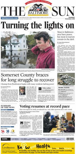 November 1, 2012 - Most of Garrett County remain in the dark after Hurricane Sandy