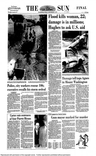 September 7, 1979 - Flood kills woman, damage is in millions after Tropical Storm David