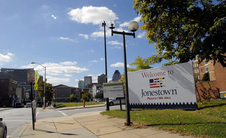 "This is the sign of ""Jonestown"" at the corner of Lombard and Lloyd streets. Community groups and museums in Jonestown have come together to create a master plan with a new brand and proposal to try to spur interest in the neighborhood. (Photo by Chiaki Kawajiri for The Baltimore Sun, Oct. 5, 2015)"