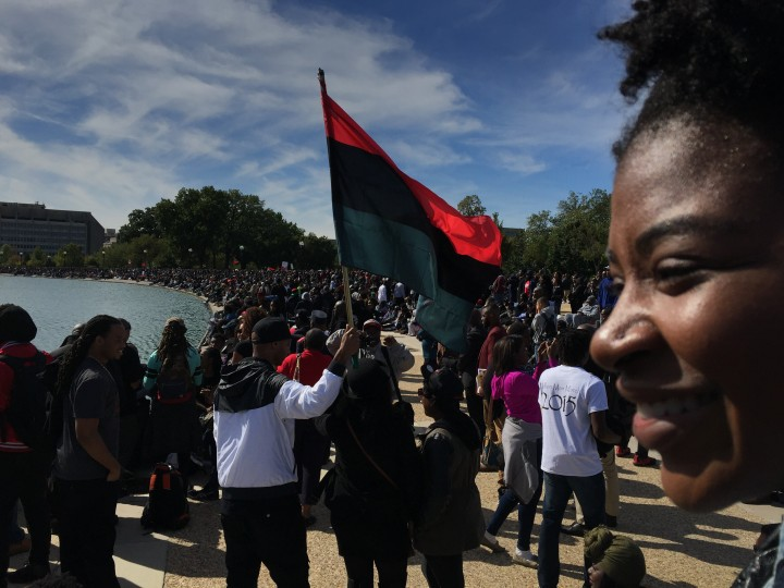 Thousands gather on the Mall on Saturday for the Justice or Else rally. (Jahi Chikwendiu/The Washington Post)