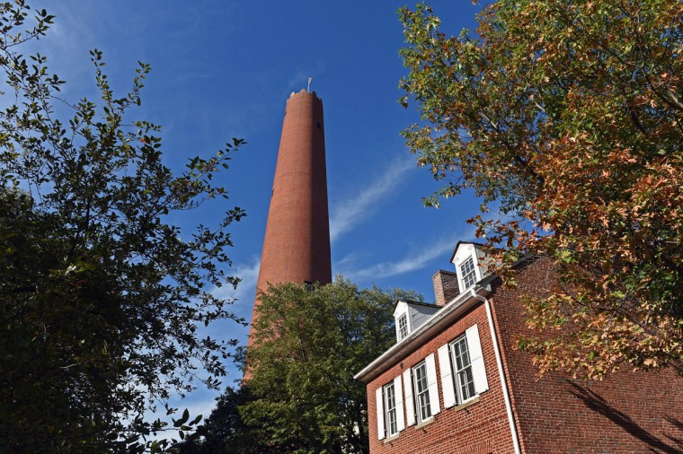 A view of the Shot Tower overlooking the house at 9 North Front Street, where the second Mayor of Baltimore, Thorowgood Smith, once lived. (Kenneth K. Lam/Baltimore Sun/Oct. 6, 2015)