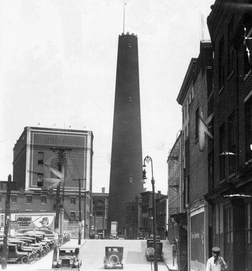 The Baltimore Shot Tower is pictured in July 1924. (Baltimore Sun file photo)