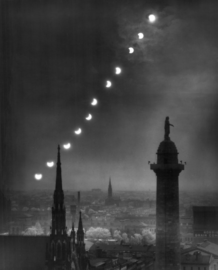 1946 - Eclipse photographed in a time lapse sequence shown with the Washington Monument in the foreground as it passes over Baltimore. (A. Aubrey Bodine/Baltimore Sun)