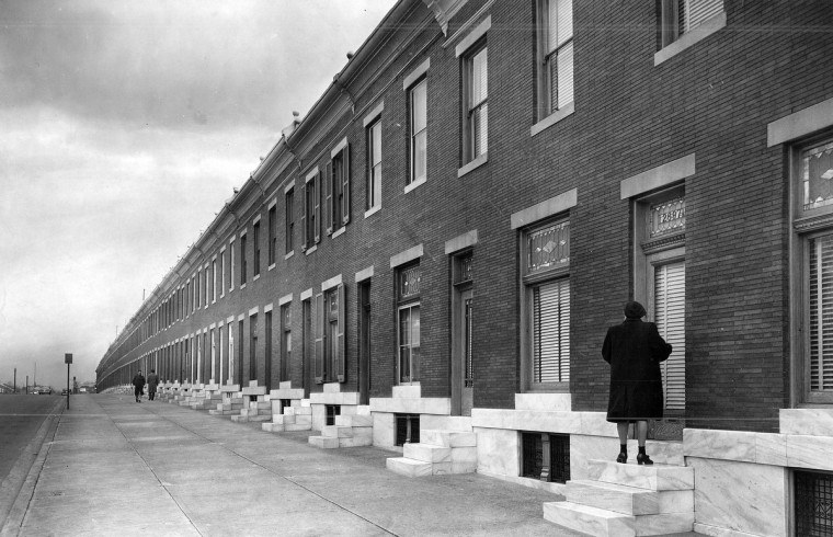 1948 - The longest block in Baltimore, 2600 Wilkens Avenue, is known as the Mill Hill Deck of Cards. When the numbers approached 2,700, the builder had to resort to half numbers. (A. Aubrey Bodine/Baltimore Sun)