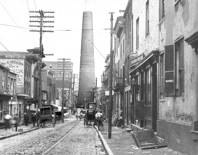 This was the scene of the Baltimore Shot Tower, as seen from the 600 block of E. Fayette Street, dated sometime between 1901 and 1904 according to Baltimore City directories at the Enoch Pratt Library. At one time the Shot Tower was the tallest building in the United States until the Washington Monument in Washington D.C. was built. (Baltimore Sun file photo)