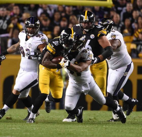 Pittsburgh Steelers fullback Will Johnson (46) runs for a first down during the first quarter of the Ravens game against the Steelers at Heinz Field in Pittsburgh. (Kenneth K. Lam/Baltimore Sun)
