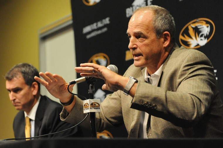 University of Missouri-Columbia head football coach Gary Pinkel speaks to the media during a news conference on the campus of University of Missouri - Columbia on November 9, 2015 in Columbia, Missouri. University of Missouri System President Tim Wolfe resigned today amid protests over racial tensions at the university. (Michael B. Thomas/Getty Images)