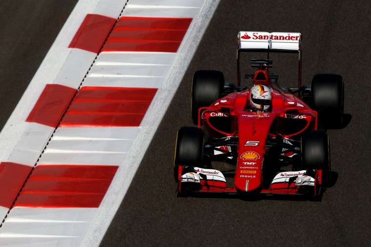 Sebastian Vettel of Germany and Ferrari drives during practice for the Abu Dhabi Formula One Grand Prix at Yas Marina Circuit on November 27, 2015 in Abu Dhabi, United Arab Emirates. (Photo by Dan Istitene/Getty Images)