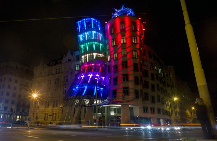 The Dancing House is illuminated by Czech artists Jaroslav Smetana and Filip Mueller during the Signal Festival Oct. 17, 2013, in Prague, Czech Republic. The first light festival in Prague brought the city's historical buildings to life through the audio-visual installations. International and local artists revealed trends of new technologies in lighting design in the streets of Prague featuring video mapping projections, audio-visual installations including light sculptures and other light installations, concerts and performances. (MICHAL CIZEK/AFP/Getty Images)