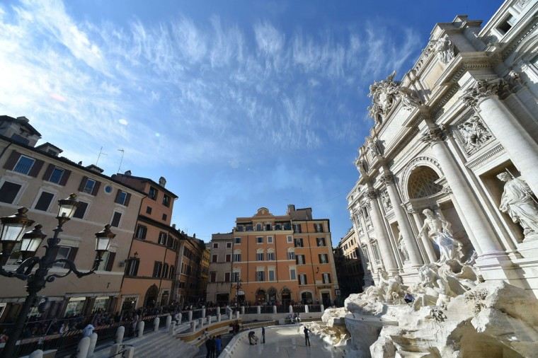 A general view shows the restored Trevi fountain prior its inauguration on November 3, 2015 in central Rome. (ALBERTO PIZZOLI/AFP/Getty Images)