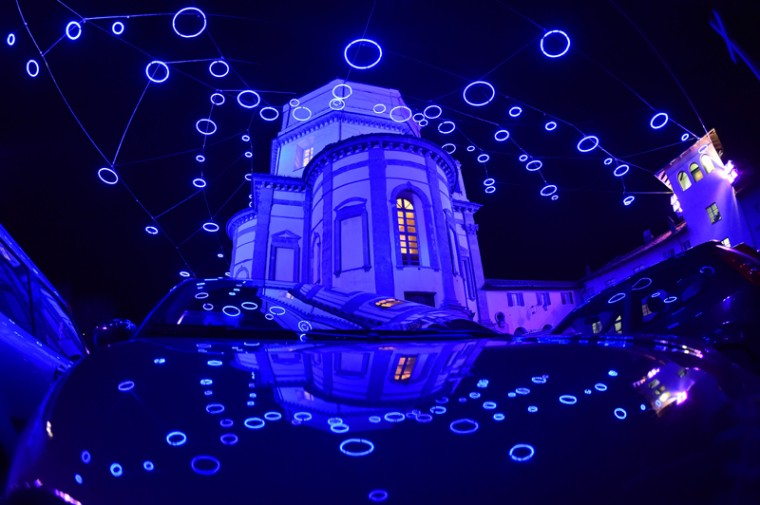 "A night view shows the church ""Santa Maria di Monte dei Cappuccini"" lit by a creation of artist Rebecca Horn called ""Piccoli Spiriti Blu"" (Small Blue Spirits), during the 18th ""Luci d'Artista"" festival of lights, on Wednesday. (GIUSEPPE CACACE/AFP/Getty Images)"