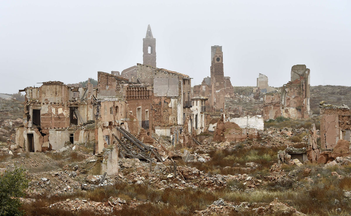 The ruins of Belchite in Aragon, Spain