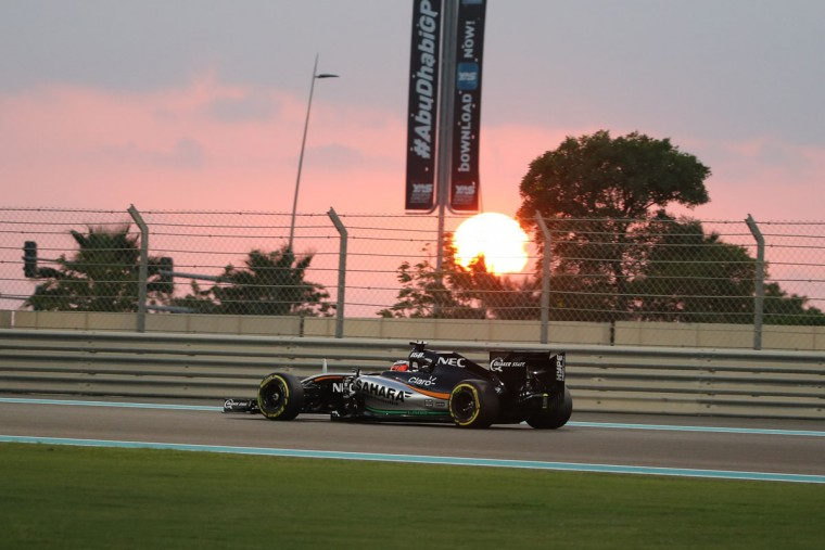 Sahara Force India F1 Team's Mexican driver Sergio Perez drives during the second practice session at the Yas Marina circuit in Abu Dhabi on November 27, 2015 ahead of the Abu Dhabi Formula One Grand Prix. (KARIM SAHIB/AFP/Getty Images)