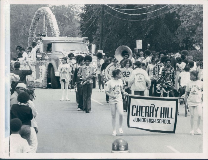 The Cherry Hill Junior High School band leads other marchers and floats in the community's third annual Preakness Festival parade on May 16, 1975. (Baltimore Sun photo by William H. Mortimer)