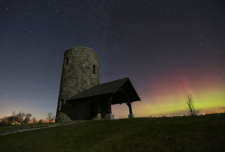 The Northern Lights shine over Pilot Knob State Park near Forest City, Iowa, early Tuesday. (Bryon Houlgrave/The Des Moines Register via AP)