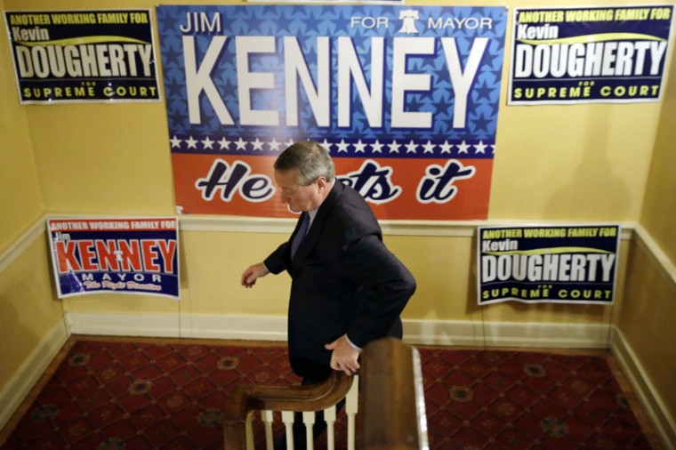Democratic mayoral candidate and former City Councilman Jim Kenney leaves a rally on election day, Tuesday, in Philadelphia. Kenney is seeking to succeed Michael Nutter, who was limited to two four-year terms. (Matt Rourke/AP)
