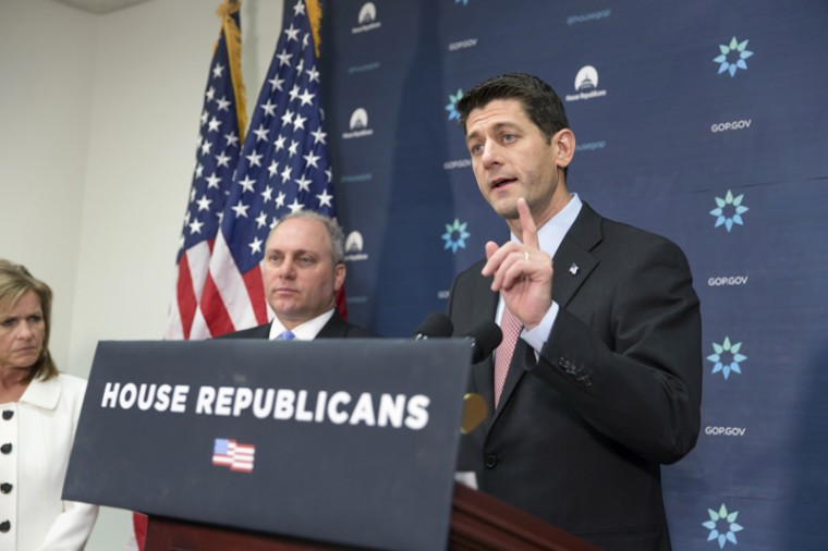 "House Speaker Paul Ryan, joined by House Majority Whip Steve Scalise and Rep. Lynn Jenkins, of Kansas, meets with reporters on Capitol Hill in Washington, on Tuesday following a GOP strategy session. Calling this a ""moment where it's better to be safe than to be sorry,"" Speaker Ryan says there should be a ""pause"" in Syrian refugees coming to the U.S. in the wake of the Paris attacks, and has assembled a task force to bring legislation to a vote as soon as this week."