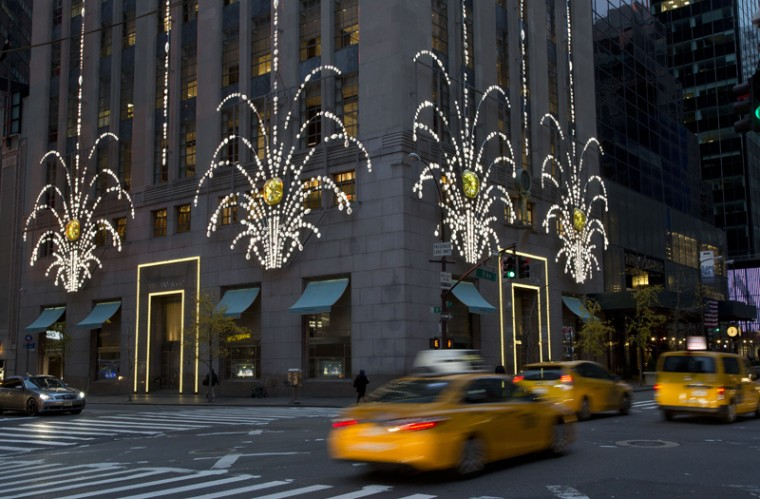 "Tiffany's Fifth Avenue flagship store is adorned for the holidays with ""crystal fireworks,"" on Tuesday in New York. Many New York stores participate in the ritual of holiday season pageantry. (Mark Lennihan/AP)"