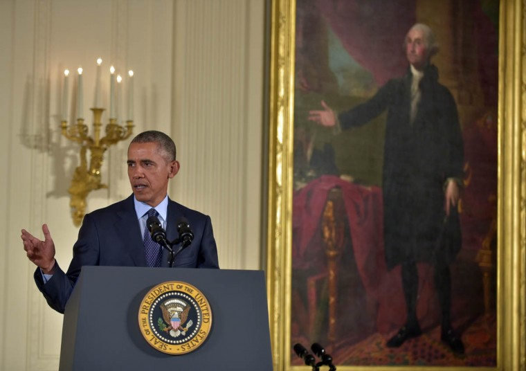 In the painting at right, President George Washington appears to be presenting President Barack Obama at the podium. In the White House East Room, President Barack Obama presents Captain Florent A. Groberg, U.S. Army (Ret), the Medal of Honor for conspicuous gallantry for his courageous actions while serving as a Personal Security Detachment Commander for Task Force Mountain Warrior, 4th Infantry Brigade Combat Team, 4th Infantry Division during combat operations in Asadabad, Kunar Province, Afghanistan on August 8, 2012. He is the tenth living recipient to be awarded the Medal of Honor for actions in Afghanistan. (Algerina Perna, Baltimore Sun)