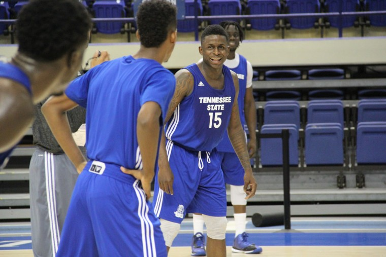 Name: Keron DeShields College: Tennessee State Position: Guard Year: Grad student High school: Vermont Academy Hometown: Baltimore 2013-14 stats: 11.8 points, 2.7 rebounds, 2.5 assists, 49.8% FG, 31.2 minutes at Montana In his first year eligible at Tennessee State after transferring from Montana, DeShields has established himself as a team leader who will be counted on to mentor younger guards and score in bunches. Photo courtesy of Tennessee State athletics