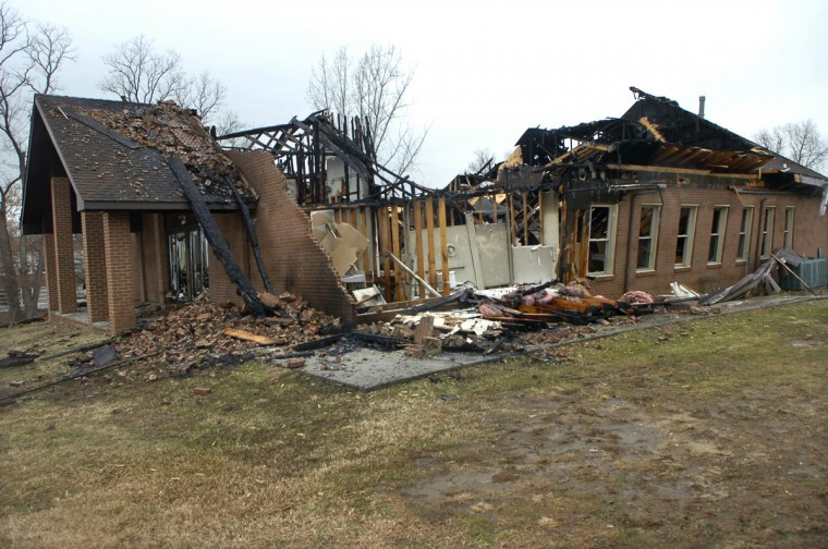 A two-alarm fire destroyed Cherry Hill Seventh-Day Adventist on Dec. 24, 2008. (Baltimore Sun photo by Jed Kirschbaum)