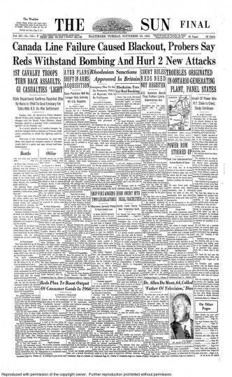 Front page of the November 16, 1965 Baltimore Sun newspaper