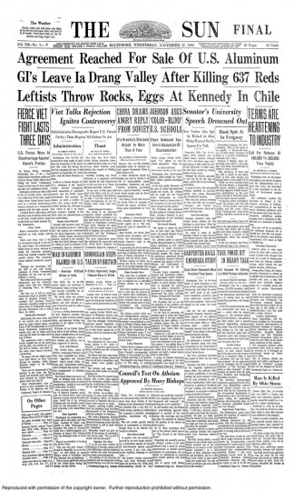 Front page of the November 17, 1965 Baltimore Sun newspaper