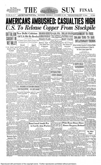 Front page of the November 18, 1965 Baltimore Sun newspaper