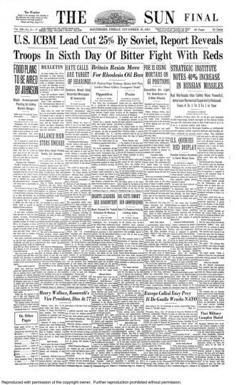 Front page of the November 19, 1965 Baltimore Sun newspaper