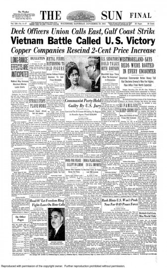 Front page of the November 20, 1965 Baltimore Sun newspaper