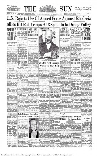 Front page of the November 21, 1965 Sunday Sun